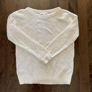 Loft cream pointelle sweater